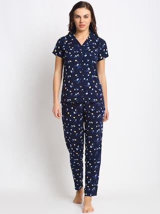 Claura Women Cotton Floral Top and Pyjama Set - Navy Blue