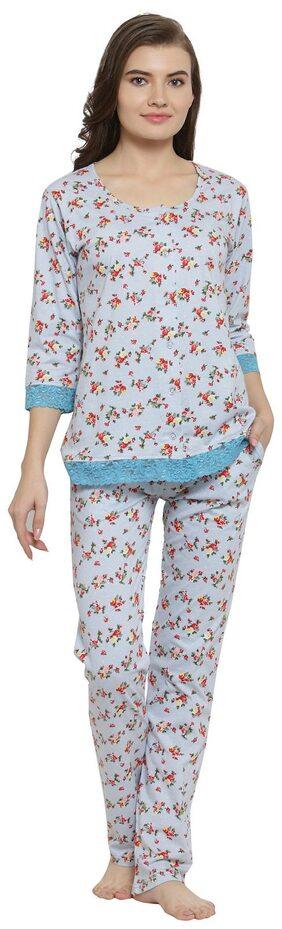 Claura Women Cotton Printed Top And Pyjama Set - Grey