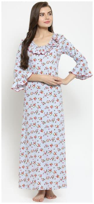 Claura Women Cotton Printed Long Nighty