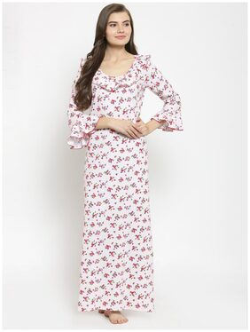 Claura Cotton Maternity Gown Printed Nightwear Pink - (Pack of 1 )