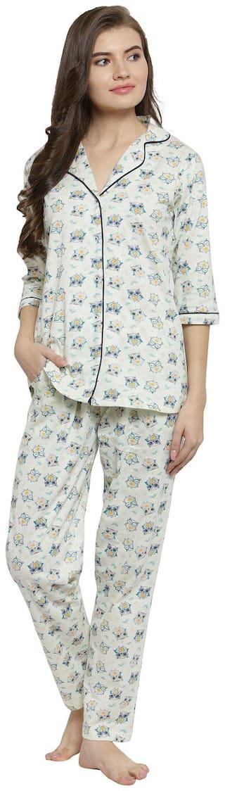 Claura Women Cotton Printed Top and pyjama set - Yellow