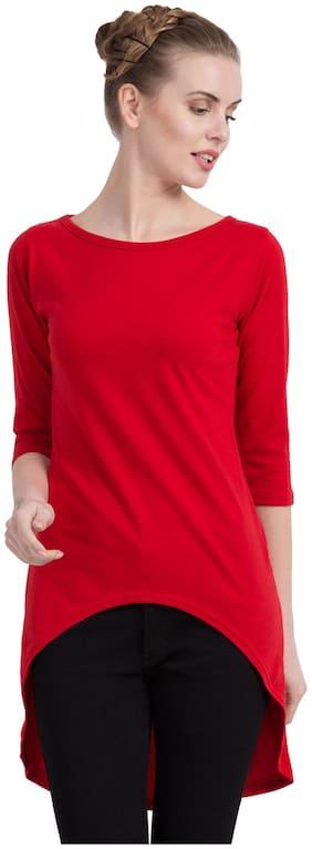 Cliths Women Cotton Self Design - Regular Tunic Red