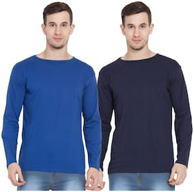 Cliths Men Multi Slim fit Cotton Round neck T-Shirt - Pack Of 2