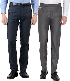 Cliths Men Combo of 2 Cotton Rayon Slim Fit Formal Pants For Office/ Formal Trouser Multi