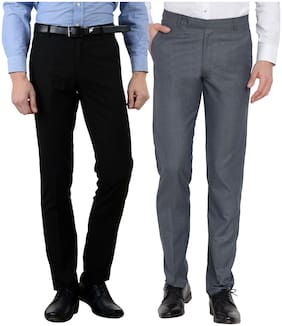 Cliths Men Formal Trouser Combo of 2 /Cotton Rayon Slim Fit Formal Pants  Multi