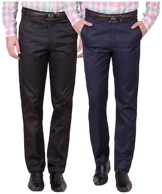 Cliths Men Solid Slim Fit Formal Trouser - Brown