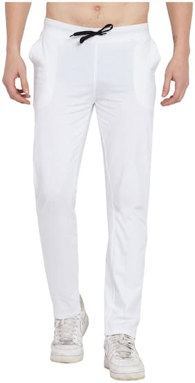 Cliths Men White Solid Slim fit Track pants