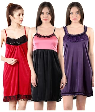 ccdb5b2229 Buy Cliths Women s Stylish Sexy Nighty-Pack of 3 Online at Low ...