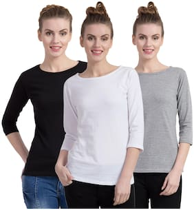 Women 3/4th Sleeves T Shirt ,Pack Of 3