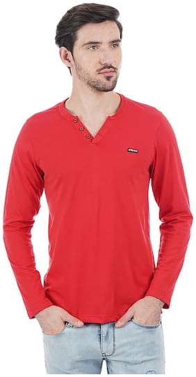 Cloak & Decker by Monte Carlo Men Regular fit Henley neck Solid T-Shirt - Red