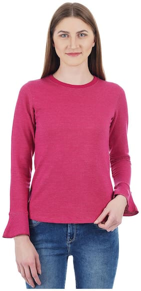 Cloak & Decker by Monte Carlo Women Blended Striped - Regular top Pink