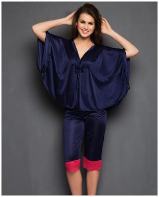 Clovia Polyester Solid Nightwear Blue - (Pack of 1 )