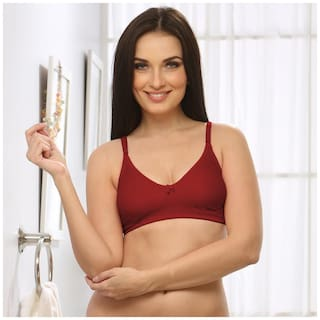Cotton Rich Non-padded Wirefree T-shirt Bra In Maroon