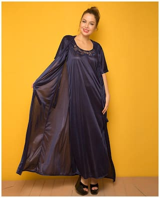 Clovia Polyester Nighty with robe Lace Nightwear Blue - (Pack of 1 )