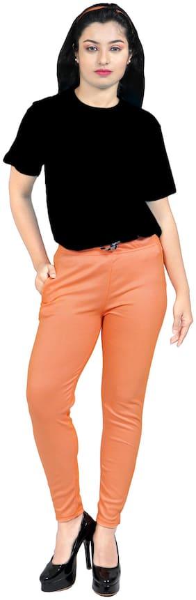 Cloth Hut Women Cotton Striped Orange  Pant