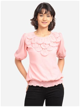 Clothzy Women Solid Regular top - Pink