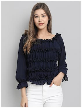 Clothzy Chiffon Solid Navy Blue Top & Tunic For Women
