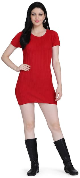 Clothzy Red Solid Bodycon dress