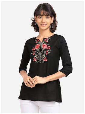 Clothzy Women Embroidered Regular top - Black
