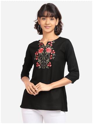 Clothzy Women Embroidered Regular top - Black