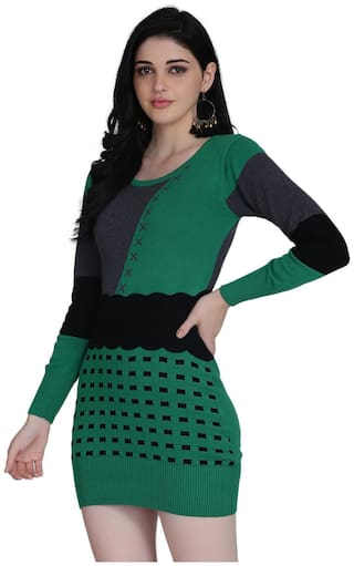 Clothzy Green Colorblocked Bodycon dress