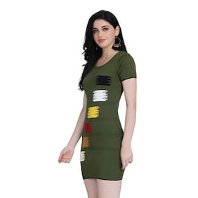 Clothzy Green Printed Bodycon dress