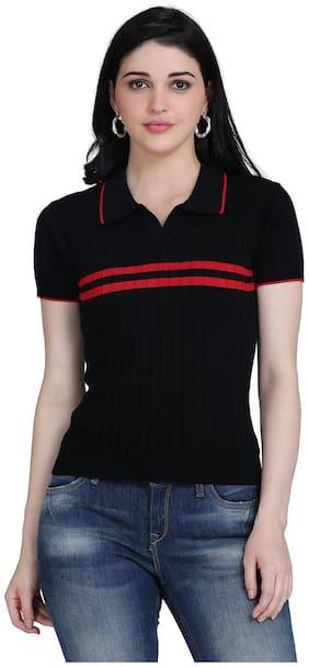 Clothzy Women Black Regular fit Polo neck Cotton T shirt