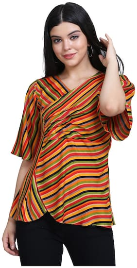Clothzy Women Striped Regular top - Multi
