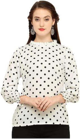 Clothzy Women Polka dots Regular top - White