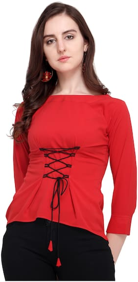 Clothzy Women Solid Regular top - Red