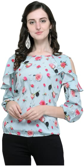 Clothzy Women Floral Regular top - Blue