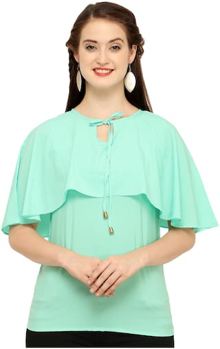 Clothzy Crepe Solid Turquoise Color Regular Top