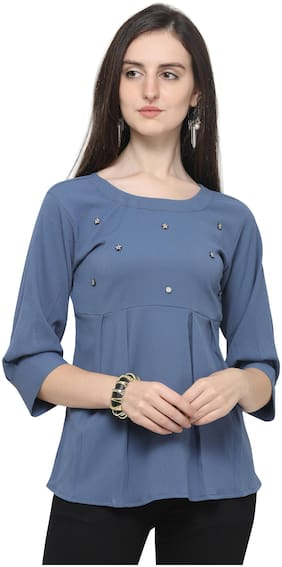Clothzy Women Solid Regular top - Blue