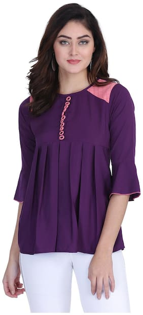 Clothzy Women Solid Regular top - Purple