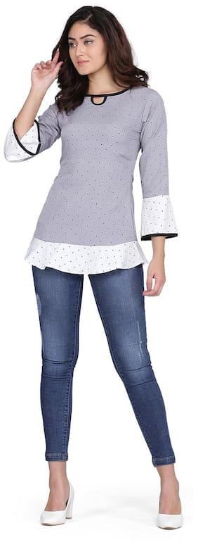 Clothzy Women Polka dots Regular top - Grey