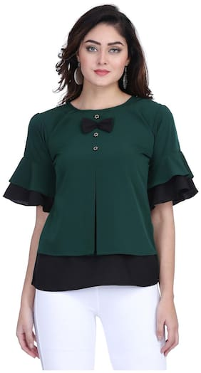 Clothzy Crepe Solid Green Color Regular Top