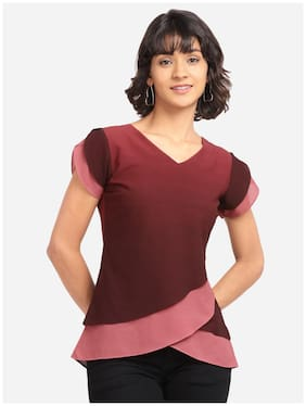 Clothzy Women Solid Regular top - Maroon