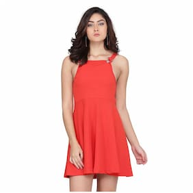 Clothzy Red Solid Fit & flare dress
