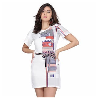 Clothzy White Printed T shirt dress