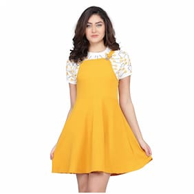 Clothzy Yellow Solid Fit & flare dress