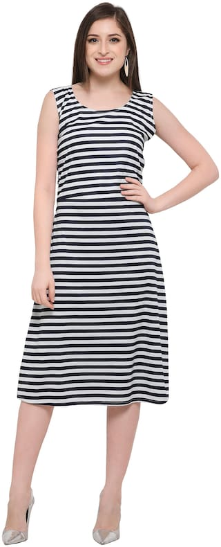 Clothzy Polyester Striped Black A Line Dress  For Women
