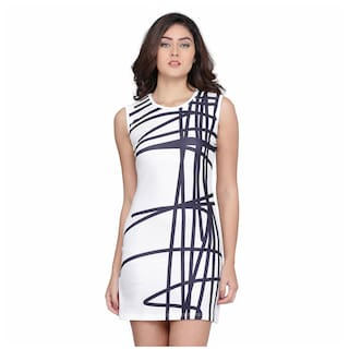 Clothzy Polyester Printed White A Line Dress  For Women