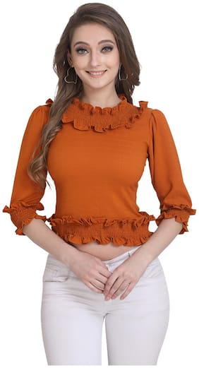 Clothzy Women Polyester Solid Copper Regular Top