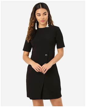 Clothzy Women Polyester Solid Black A Line Dress