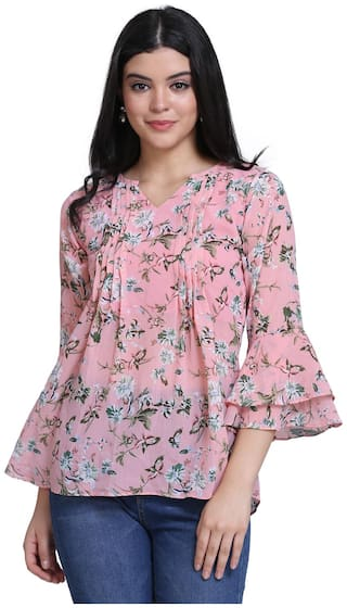 Clothzy Women Floral Regular top - Pink