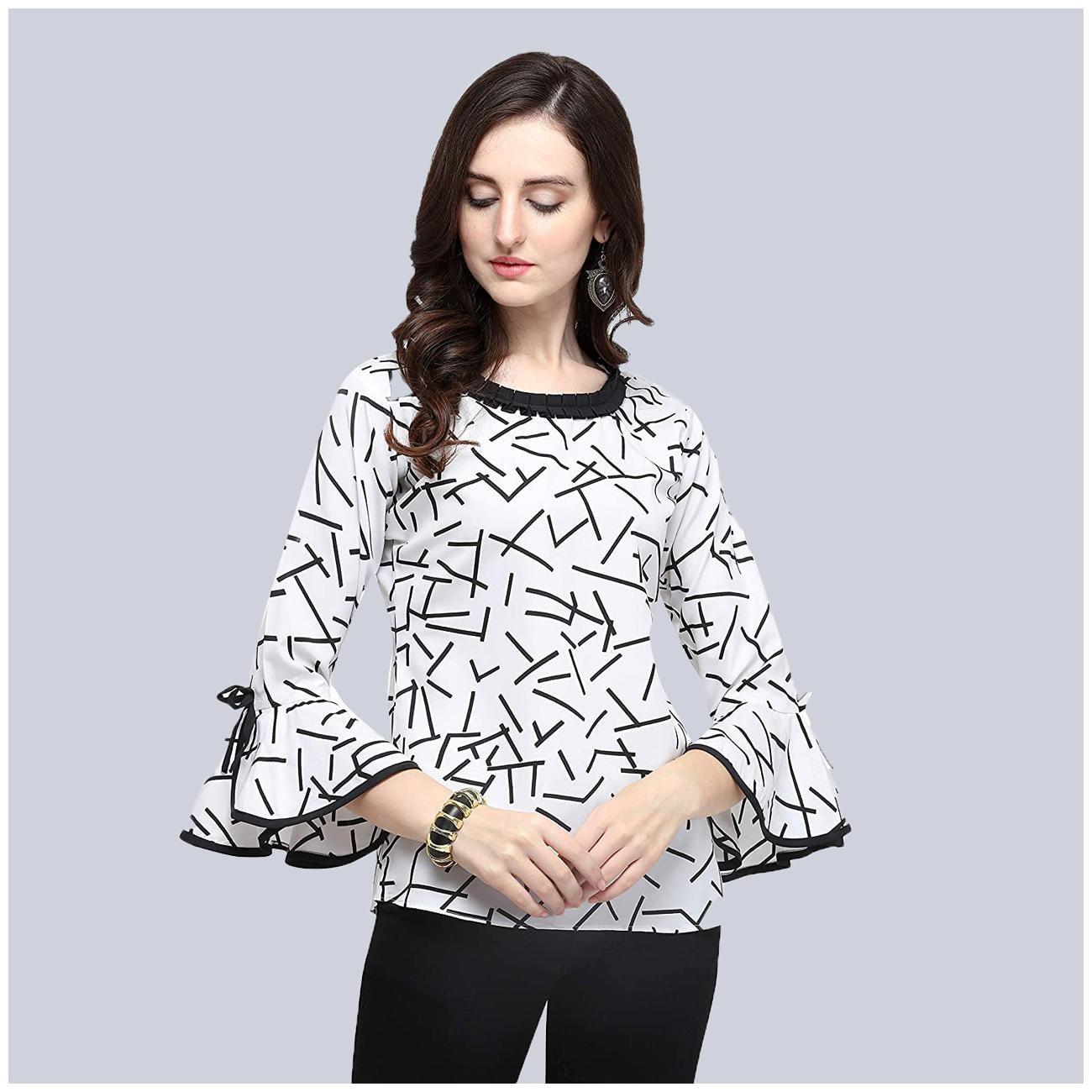 Clothzy Women Printed Regular top - White