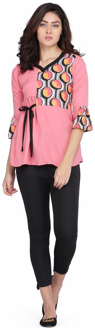 Clothzy Women Printed Regular top - Pink