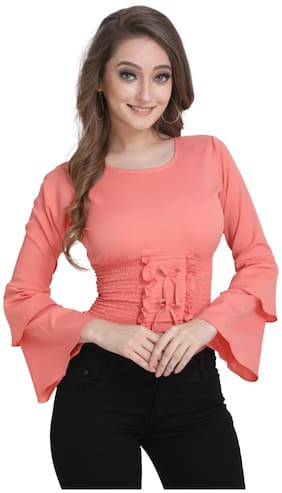 Clothzy Women Solid Regular top - Peach