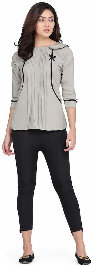 Clothzy Women Solid Regular top - Grey