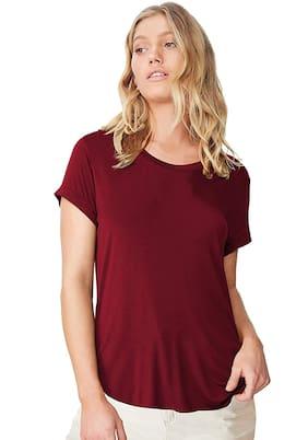 Clothzy Women Maroon Regular fit Round neck Cotton T shirt